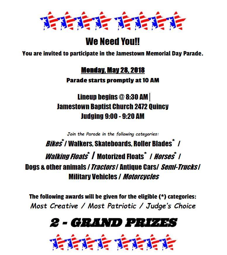 Jamestown Memorial Day Parade  Jamestown Charter Township Details